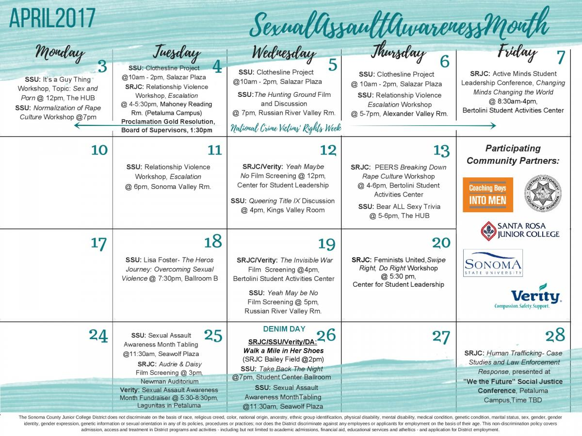 Event Calendar - Sexual Assault Awareness Month